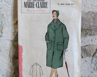 1950s French sewing pattern for winter coat Les Patrons Marie-Claire no 4830