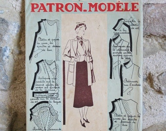 1940s sewing pattern Patron Modèle M83018 - French sewing pattern for a jacket and waistcoat