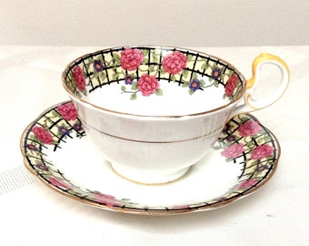 Aynsley #H329 Cup and Saucer/ Pink and Blue Flowers On Black Trellis/