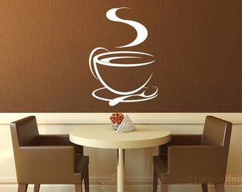 """Coffee Cup Tea Cup Kitchen Vinyl Wall Decal Graphics Home Decor 15"""" x 22"""""""
