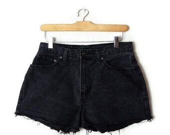 Vintage Jordache Black Denim cut off Shorts from 90's/W28*