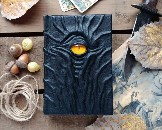Orange eye necronomicon horror book, handmade leather journal, one of a kind scary creepy sketchbook, dark gothic diary, occult grimoire
