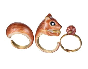 "3 - set finger rings ""Eich Hoerchen that eats an Acorn"""