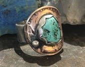 One of a king bohemian statement turquoise sterling silver copper coin ring