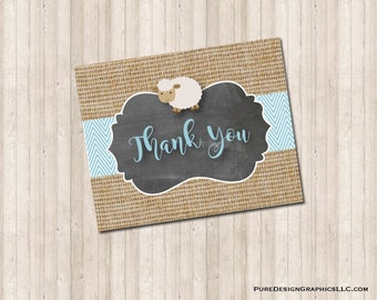 Baby Shower Lamb Thank You Note Card in neutral, burlap and blue.