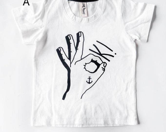 OK Tattoo Hand Short Sleeve Baby T-Shirt - Unisex Alternative Anchor Rockabilly Bodysuit 0-3, 3-6, 6-12 month