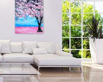 "art, sale, pink cherry blossom painting , large painting, with cherry blossom, cherry blossom large  canvas art, large art, blue, 36"" x 24"""
