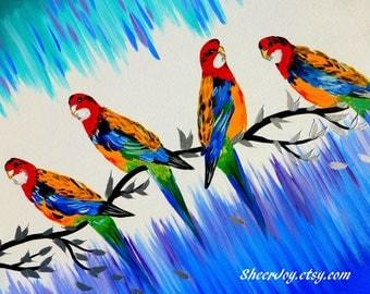 "bright paintings, bright art, colorful art, colorful paintings, colorful, canvas, painting, paintings, with birds,parrots,art, 29.5"" x 23.5"""