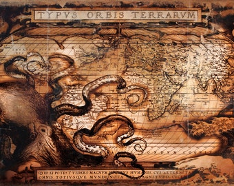 LARGE Old World Map - Poster Print 12x18