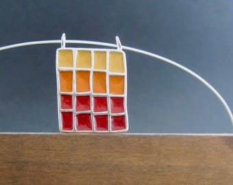 Red and Orange Necklace - New Century Modern - Red, Orange, and Yellow Reversible Statement Necklace