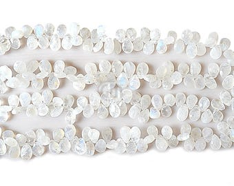 """25% OFF Single Strand Rainbow Moonstone Briolette Beads, 9x5mm Faceted Gemstone Teardrop Beads 8"""" Inch Long (DRRM-70009)"""