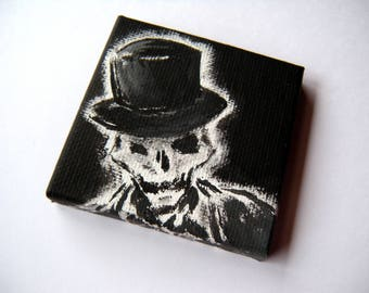 Skeleton in a Tophat - ORIGINAL PAINTING - Tiny Painting