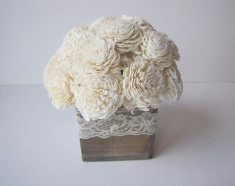 Keepsake Arrangement -Sola Flower Arrangement - Simple Floral Centerpiece - Balsa Wood Arrangemet - Rustic Centerpiece - Modern Floral