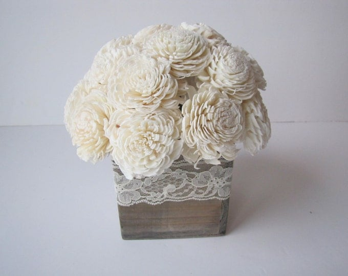 Keepsake Arrangement -Sola Flower Arrangement - Simple Floral Centerpiece - Balsa Wood Arrangemet - Rustic Centerpiece - Modern Floral