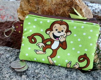 Monkey Coin Purse, Small Zipper Wallet, Kids Change Purse