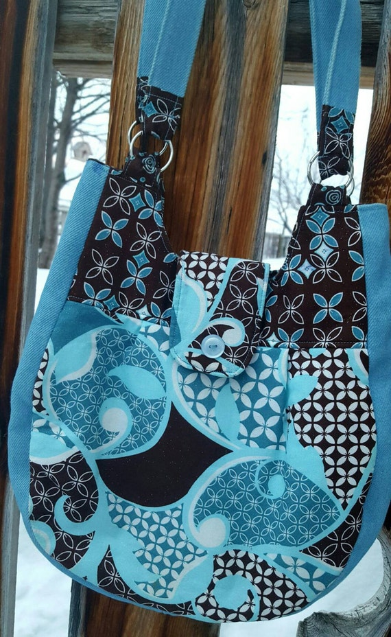 Turquoise and Brown Purse with Inside Pockets, Fabric Purse