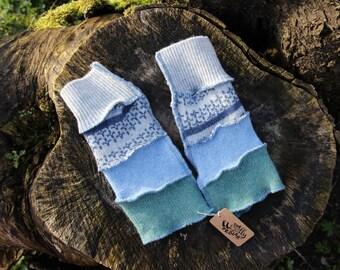 Upcycled Kid's Armwarmers, Wristwarmers,Fingerless Gloves Handmade in UK Recycled Wool Knitwear. Grey, Blue Green. Lambswool OOAK
