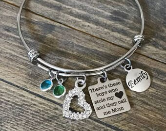 There's These Boys Who Stole My Heart, and They Call Me Mom Charm Bracelet Gift