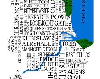 Aberdeen Map. Word map of Aberdeen designed using place names in and around the city.