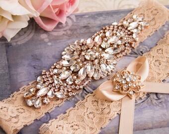 Vintage Blush Wedding garter set, Blush Bridal Garter, Rose Gold Garter, Blush Lace Garter, Blush Garter, Rose Gold Wedding Garter