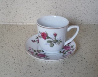 Moss Rose Demitasse Cup and Saucer