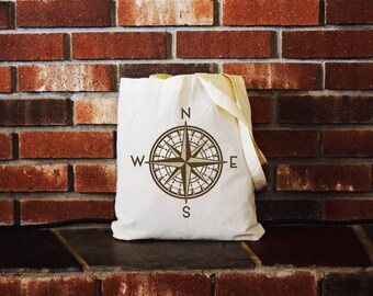 Canvas Tote, canvas tote bag, canvas bag, canvas tote, canvas, compass, adventure