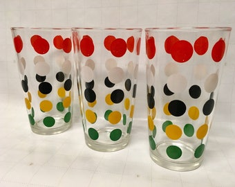 Vintage Hazel Atlas Confetti Polka Dot Tumblers (3) 1950s Collectible Replacements/American Glassware/Retro/Mod/Decorated Glassware/USA Made