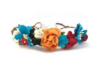 Moana flower crown, red, orange, blue flower crown, flower halo, disney princess moana, flower wreath, birthday flower crown, theme, muana