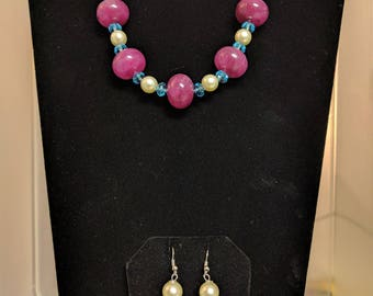 Pearl Beaded Necklace Set with Wine Disc and Blue Crystal Accents