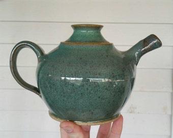 Green Teapot -Stoneware Teapot- Medium Sized Teapot -Tea Ceremony- Ceramic Teapot -Handmade Teapot
