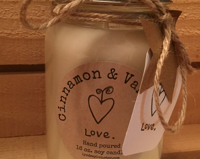 Hand Poured, CINNAMON & VANILLA scented, 100% Soy Candle in 16 oz. Glass Canning Jar with Cotton Wick