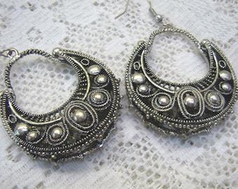 Summer Sale...Vintage Ethnic Tribal Silver Hook Earrings...Ornate...Openwork Bottom...Gypsy...Boho Silver Hook Earrings