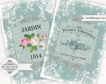 Vintage Provence Cards, Scrapbooking/Decoupage paper. Set of 2. Digital download for scrapbooking and packaging.