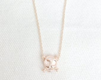 Skull Necklace, Rose Gold Skull Necklace, Rose Gold Necklace, Rose Gold Jewelry, Bridesmaid Gifts, Birthday Gifts, Mothers Day,Mom Gifts