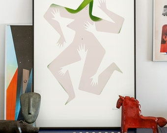 Touch me 1/4. Signed illustration art poster giclée print.