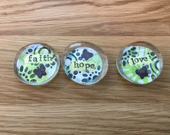 Inspiration Stones- faith, hope, love- set of 3 in yellows and greens *Closeout item*