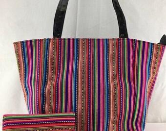 MANTA INCA AYMARA sarape style woven textile handmade beach/shopping tote style shoulder and check book wallet set