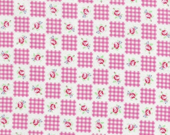 Lecien Flower Sugar- Gingham and Roses on Pink, OOP