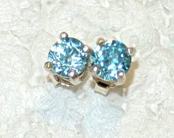 Blue Zircon Earrings. 5mm Round, Natural, Set in Sterling Silver E1026