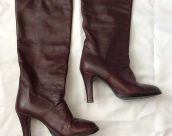 Joyce of California boots, Vintage Joyce boots, Vintage leather knee high boots, Beautiful vintage leather boots, Knee high burgundy boots