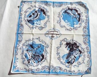 1960s Blue German Handkerchief