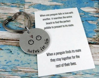 Aluminium circle penguin key ring. The perfect gift for your loved one/mate for life.