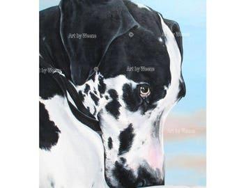 Harlequin Great Dane, Great Dane Art, Great Dane Print, Great Danes, Great Dane Portrait, Pet portrait, Dog Art, Art by Weeze, Weeze Mace