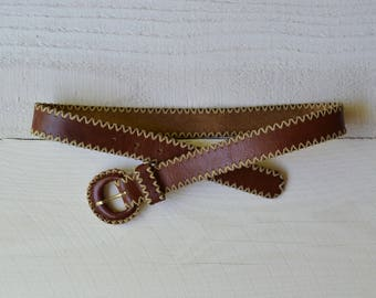 Wild Horses Belt / 1970s leather woven belt