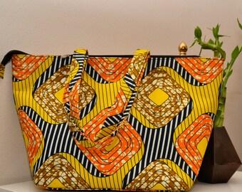 Yellow Ankara Large Tote Bag