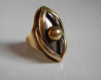Mid Century Modernist Bronze Metal Ring,Ball on Oval,signed W.Germany,1960s Vintage Retro