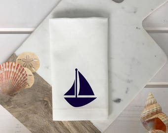 Sailboat Napkins Nautical linen napkin white and navy blue napkin Nautical Decor Outdoor Entertaining wedding gift hostess gift