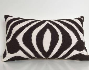 Zebra Eyes Safari Pillow in Dark Chocolate Brown Wool Felt on Creamy White Cotton Twill
