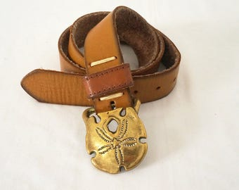 Light Brown Leather Belt with Brass Sand Dollar Buckle Sz 37