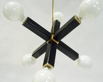 Chandelier blackened steel and solid brass